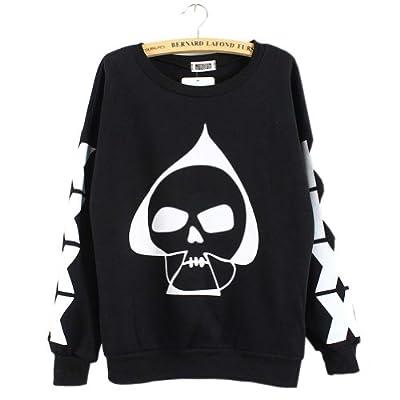 Meilaier Womens Plus Size Skull Blouse Fleece Shirts Black, White