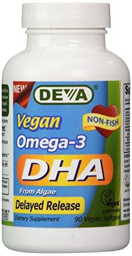 Deva Vegan Omega-3 DHA, Algae 200mg, Delayed Release 90 Vcap