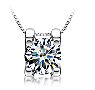 Genuine 925 Sterling Silver Cubic Zirconia Simulated Diamond Pendant Necklace 18''
