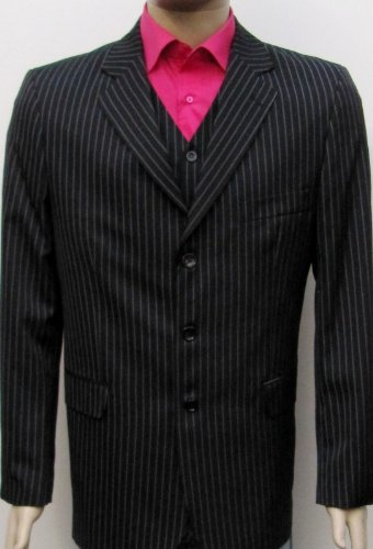 MUGA Pinstripe mens Suit + Waistcoat, Black, size 52L (EU 118)