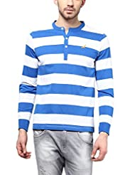 American Crew Men's Striped Henley Full Sleeves T-Shirt (White & Blue)