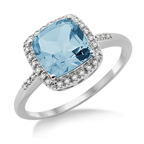 Blue Topaz Ring, 9ct White Gold, Diamond and Blue Topaz Ring, Size O, by Miore, SH031RP