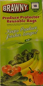 BRAWNY Produce Protector REUSABLE Produce Bags - 18 ~ 1 Gallon Bags