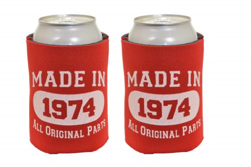 Made In 1974 40Th Birthday 2 Pack Can Coolies Red front-947245