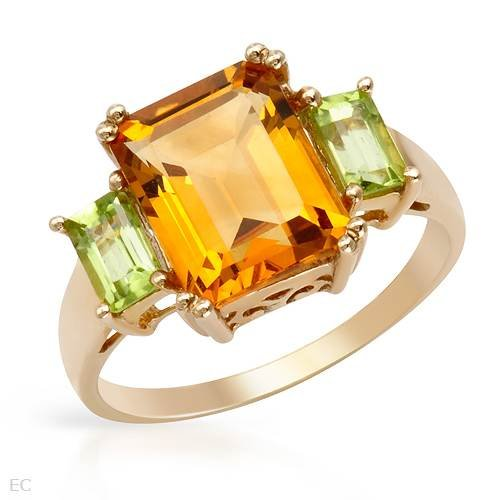 Three-stone Ring With 3.20ctw Precious Stones - Genuine Citrine and Peridots Made of Yellow Gold (Size 7)