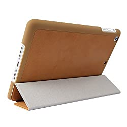 iPad Air Case - InRich PU Leather Ultra Thin Smartshell for iPad Air (iPad 5) Case Cover (Brown) - IR02