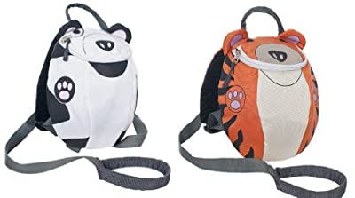 Trespass KIDS RUCKSACK with Safety Reins Dog or Tiger Print Girls Boys 2L