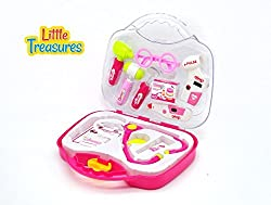 Little Treasure Mini Travel Doctor Medical Supply Play Kit for Girls with Heart Rate Monitor Stethoscope and Otoscope