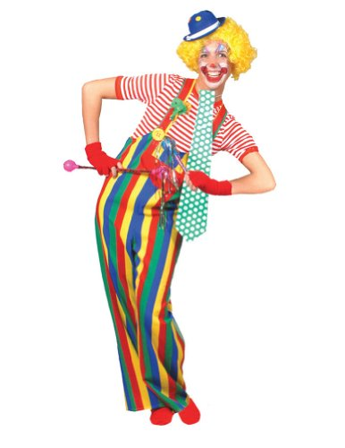 Striped Clown Overalls Adult Adult Mens Costume