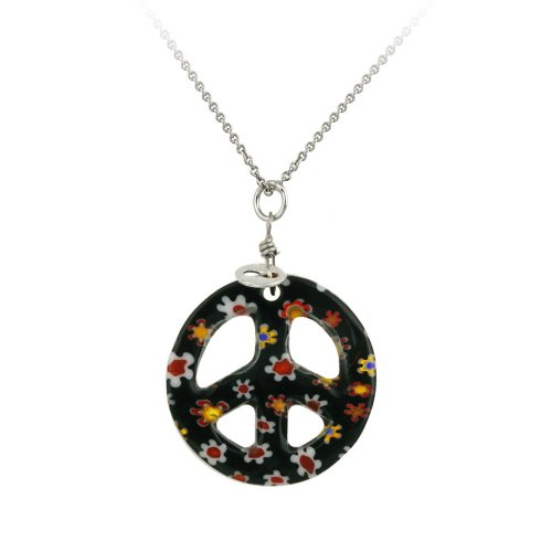 Sterling Silver Rolo Chain with Hand -Blown Black Glass Peace-Sign Pendant Necklace , 18
