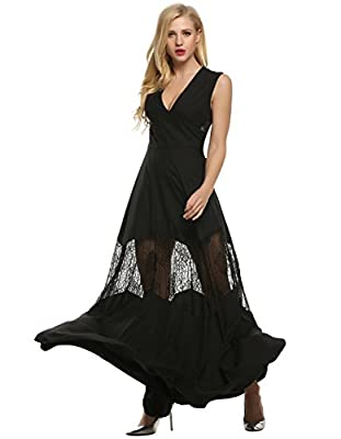 Angvns Women's Elegant Deep V-neck Lace Patchwork Floor length Evening Dress