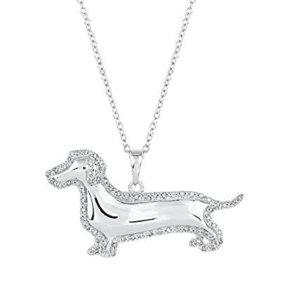 ASPCA(R) Tender Voices(R) Diamond Dachshund Dog Pendant 1/4ctw