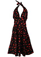 Vintage Retro Cherry Rockabilly Bombshell Halter Pinup Swing Women's Dress