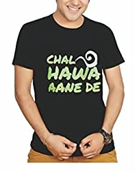 Lafangey Unisex Round Neck Cotton T-Shirt (Hawa_01_Black_Medium)