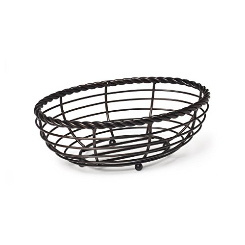 Gourmet Basics by Mikasa Metal Rope Oval Bread Basket, Antique Black (Wrought Iron Bread Basket compare prices)