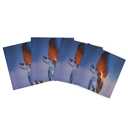 """Kess Inhouse Lydia Martin """"Volcano Girl Blue"""" Outdoor Place Mat, 15 By 15-Inch, Set Of 4"""