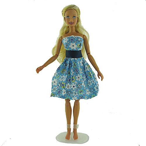co2CREA(TM) Brand New Blue Fashion Gown Clothes Dresses Mini Cute Outfit for 29cm Barbie Doll (11 1/2 inch scale 1:6) Great Xmas gift for kids - 1