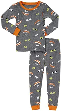 Carter's Baby Boys Glow in the Dark Snug Fit Cotton 2-piece Pajamas (12M-24M) (24 Months, Monster Faces)