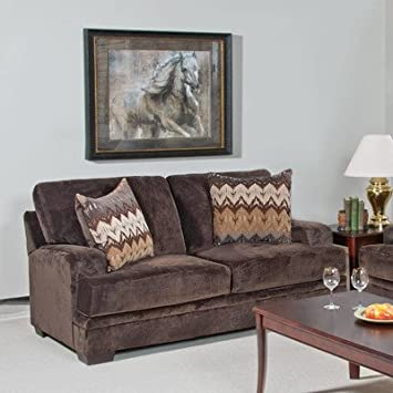 Loveseat Fabric: Olympian Chocolate / Padma Otter