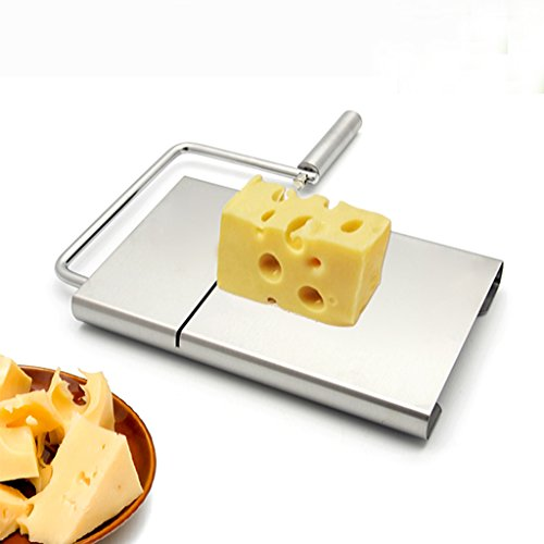 [Cyber Monday]IBEET Cheese Butter Slicer Stainless Steel Cutting Board with Replacement Wire Set (Cheese Slicer Steel compare prices)