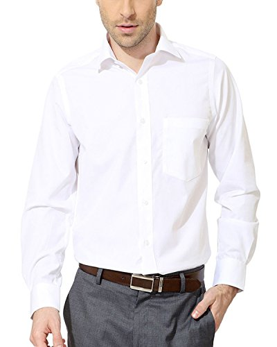 Lee Marc Men's Shirt (White Shirt_46, White, 46)