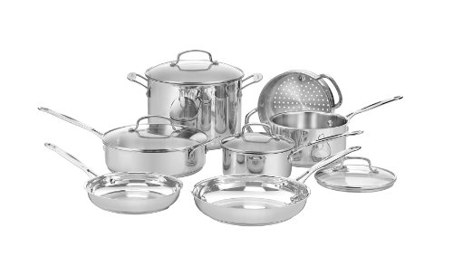 Cuisinart 77-11G Chef's Classic Stainless 11-Piece Cookware Set (Pan Set Cuisinart compare prices)