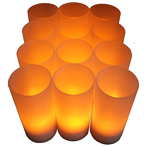 Bluedot Trading Led Battery Operated Rechargeable Tea Lights, 12-Pack