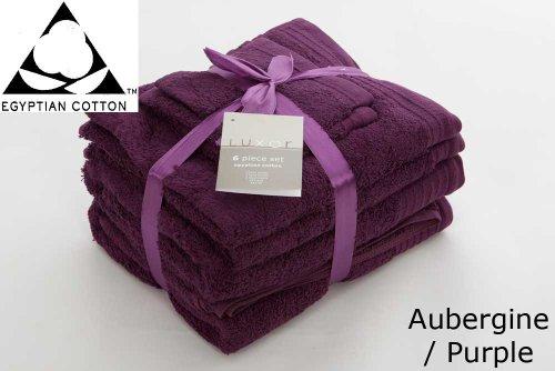 PURPLE/ AUBERGINE 650gsm 6pc Prestige 'Luxor' Egyptian Cotton Towel Bale Bundle Gift Set