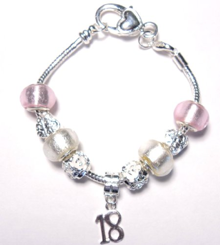18th Birthday Pink Pandora/Troll Style Charm Bracelet - 20cm Silver Plated Bracelet with 9 charms/beads - Ideal Birthday Gift