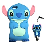 DE Cute 3D Cartoon Animal Series iPhone 5C Case New Blue/Pink 3D Cartoon Stitch Movable Ear Shape Style Soft Silicone Rubber Case Protective Cover for Apple iPhone 5C With 3D Stitch Stylus Touch Pen Gift