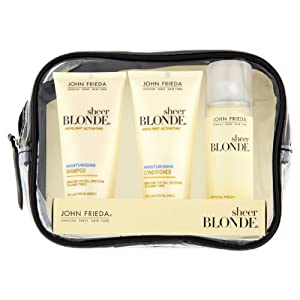 John Frieda Sheer Blonde Travel Bag Inc Shampoo, Conditioner & Hairspray