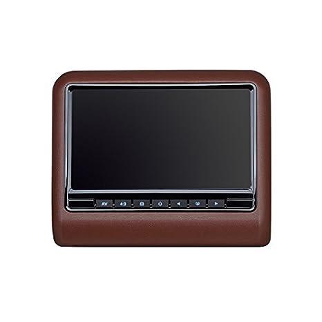 """10,1"""" Support de moniteur sur l'appuie-tête de ICARTECH - Rouge-marron - Entrée AV - Dualzone - imitation du cuir - haut-parleurs intégrés - Casque IR (gratuit) - Émetteur IR intégré, hr10m"""