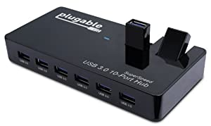 Plugable USB 3.0 SuperSpeed 10-Port Hub with Two Flip-Up Ports and 48W Power Adapter (VIA VL812 Rev B2 Chipset with v9081/9084 firmware. Windows, Mac OS X, and Linux support. Full USB 2.0 backwards compatibility)