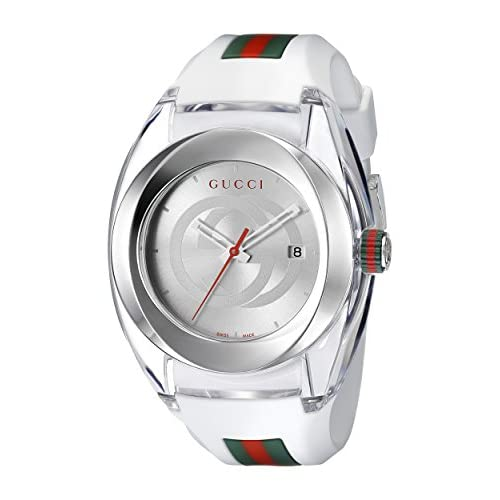 Gucci Sync Collection Men's Quartz Watch with Silver Dial Analogue Display and White Rubber Strap YA137102