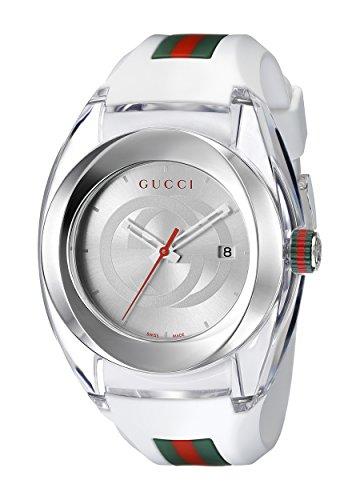 Gucci  YA137102 - Reloj de cuarzo unisex, con correa de goma, color blanco