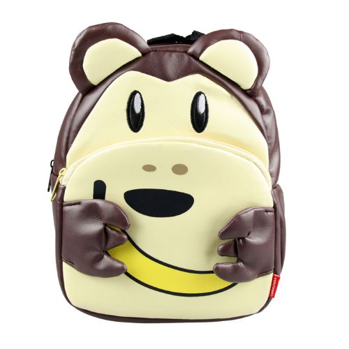 Linda Linda Brown Monkey Kids Bag, Little Kid Backpack, Children School Bag and Travel Bag