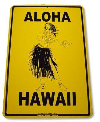 Aloha Hawaii Hula Girl Aluminum Street Sign