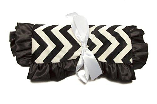 Minky Baby Blanket Narrow Chevron Ultra-Soft Rose Buds, 36IN X 30IN, Black / White - 1