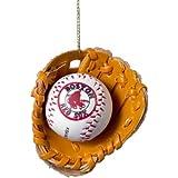 Boston Red Sox Baseball in Glove Ornament