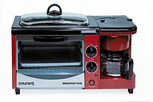 Courant CBH-4601R 3-in-1 Multifunction Breakfast Hub (4 Slice Toaster Oven, Large 10'' Diameter Griddle Pan, 5 Cup Coffee Maker), Red (Coffee Maker Toaster Oven Combo compare prices)