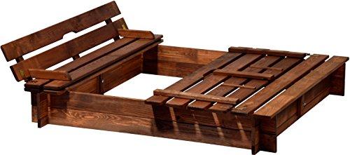 94360FSC - Sandkasten Holz mit Deckel mit Sitzbank, Sandkiste Bank groß XL viereckig mit Abdeckung, 118 x 118 x 20 cm, FSC-Holz, braun