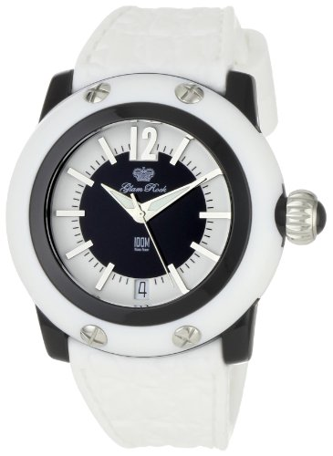 Glam Rock Women's GR23009 Miami Beach Black and White Dial White Silicone Watch