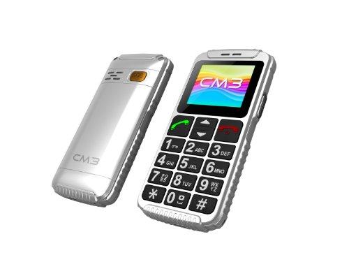 Weiß Senioren Handy, Großtasten Telefon mit Taschenlampe, MP3, SOS Notfall Taste, inkl. 2ten Ersatzakku, CM3-AC-008