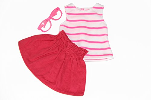 3 pc Colorful Outfit Set. Includes: Tank Top, Skirt and Glasses Color: Pink. Fits 18 Inch Doll Clothes - 1