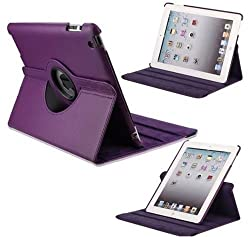 Leather 360 Degree Rotating Smart Stand Case Cover For New iPad 4 iPad 3 iPad 2 - Purple