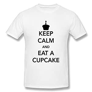 Personalized Men's 100% Cotton Keep Calm Eat Cupcake T Shirts