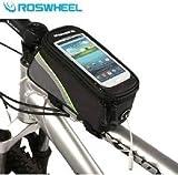 自転車のフレームに取り付け簡単スマートフォンも収納できる ROSWHEELトライバッグ ポーチ マウンテンバイク 小物入れ サドルバッグiPhone、Galaxy、フレームバッグ トップチューブバッグ サイズ:中