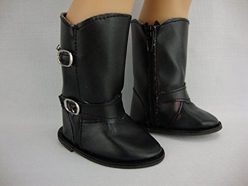 Black Leather-like Boots Made to Fit the 18 Inch Doll Like the American Girl Series - 1