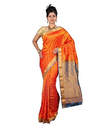 PSSB Kanchipuram Silk Sarees Emboss Design Pure Silk Jari Rich Pallu Orange