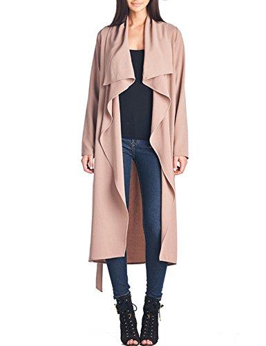 BIADANI Women Long Sleeve Duster Lightweigtht Robe Tie-Belt Drape Coat Slim Fit Cocoa S/M